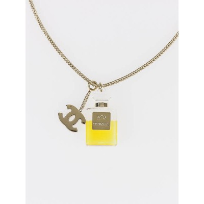 Chanel No. 5 Perfume Bottle and CC Charm Necklace