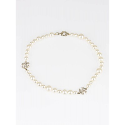 Chanel Pearl and Crystal CC Logo Classic Short Necklace