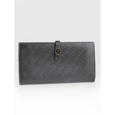Chanel Black Caviar Leather Continental Long Wallet