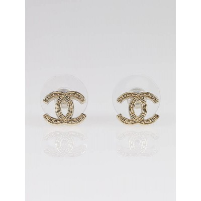 Chanel Goldtone Metal CC Logo Stud Earrings