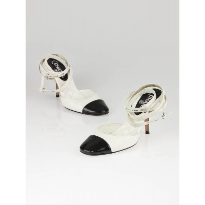 Chanel White/Black Cap Toe Ankle Wrap Kitten Heels Size 6.5/37