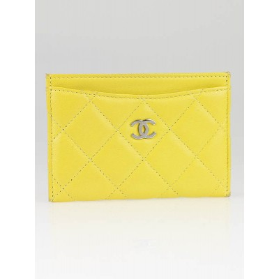 Chanel Yellow Quilted Lambskin Leather Card Holder