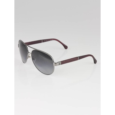 Chanel Silver/Red Polarized Aviator Sunglasses- 4195