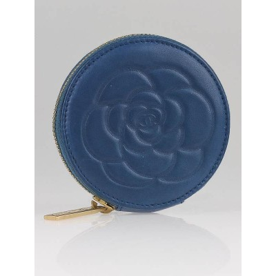 Chanel Blue Lambskin Leather Round Coin Purse