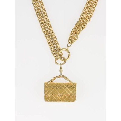 Chanel Goldtone Triple Link Chain Flap Bag Pendant Necklace