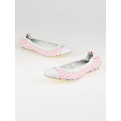 Chanel Pink Gingham Canvas Elastic Ballet Flats Size 9.5/40C