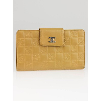 Chanel Beige Quilted Lambskin Leather Precious Symbols French Purse Wallet