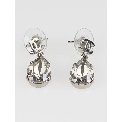 Chanel Silver CC Logo Crystal Pear Dangle Earrings