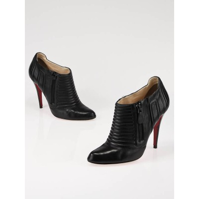 Christian Louboutin Black Leather Pleated Zip Ankle Boots Size 10/40.5