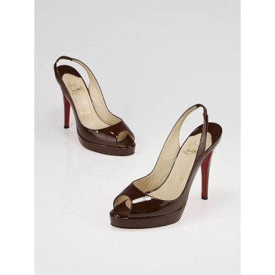 Christian Louboutin Chocolate Brown Patent Leather Yoyo Zeppa 120mm Slingback Sandals Size 6/36.5