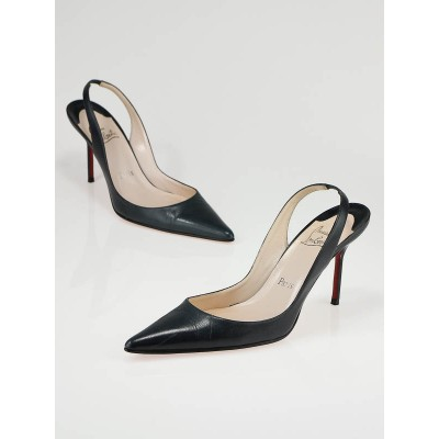 Christian Louboutin Dark Teal Slingback Pointed Toe Heels Size 9.5/40