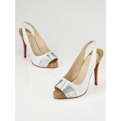 Christian Louboutin White and Silver Leather Moyen Empire Slingback Pumps Size 6.5/37