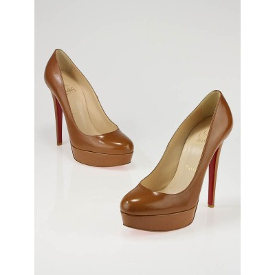 Christian Louboutin Cognac Leather Platform Bianca 140 Pumps Size 6.5/37