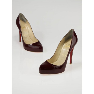 Christian Louboutin Burgundy Patent Leather Rolando 120 Pump Size 8.5/39