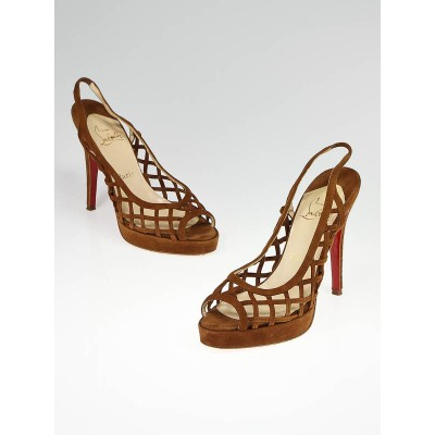 Christian Louboutin Brown Suede Nute D'Ete Lattice Slingback Sandals Size 7/37.5