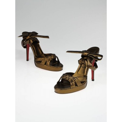 Christian Louboutin Bronze Nappa Leather Hi-Tina Heels Size 8.5/39
