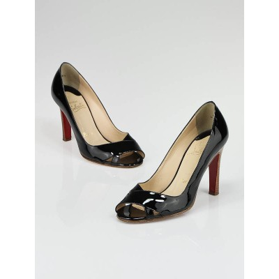Christian Louboutin Black Patent Leather Miss Marple 100 Heels Size 6/36.5