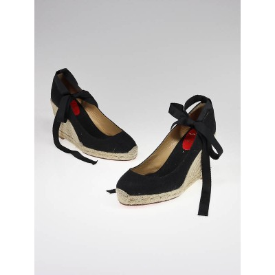 Christian Louboutin Black Canvas Formentera 100 Espadrille Wedges Size 8.5/39