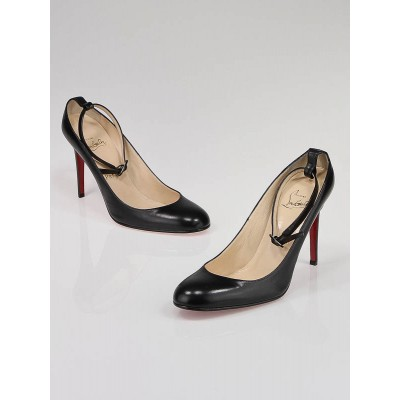 Christian Louboutin Black Leather Ankle Strap Chironde Pumps Size 9/39.5