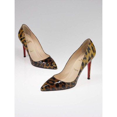 Christian Louboutin Leopard Print Patent Leather Pigalle 100 Pumps Size 8.5/39