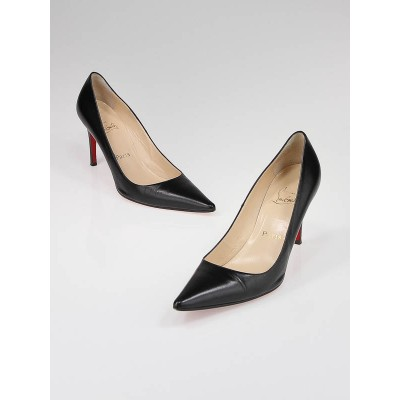 Christian Louboutin Black Leather Hai 85 Pointed Toe Pumps Size 8/38.5