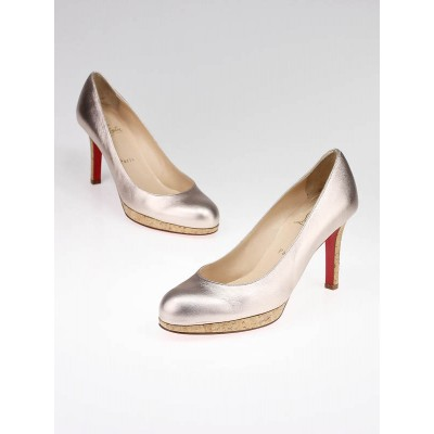 Christian Louboutin Pink Metallic Leather New Simple 90 Pumps Size 8/38.5