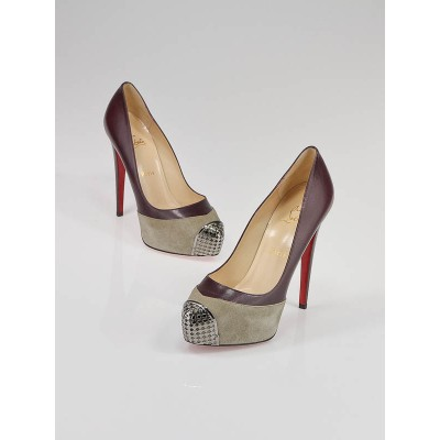 Christian Louboutin Bordeaux Leather and Grey Suede Steel-Toe Platform Maggie 140 Pumps Size 8.5/39