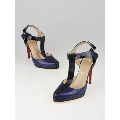 Christian Louboutin Black/Blue Super T T-Strap Pumps Size 10.5/41