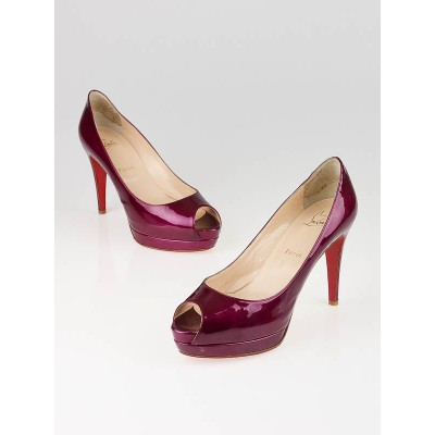 Christian Louboutin Cramberry Patent Leather Altadama 100 Peep-Toe Pumps Size 7.5/38