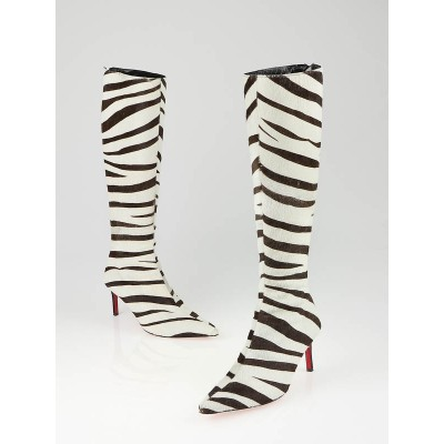 Christian Louboutin Zebra Print Calf Hair High Boots Size 7/37.5