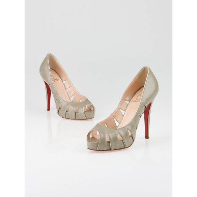 Christian Louboutin Taupe Leather Fontanete Peep-Toe Pumps Size 6/36.5