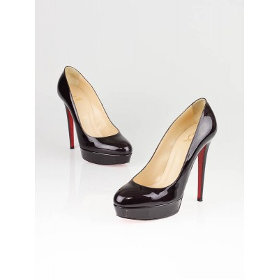 Christian Louboutin Oxblood Patent Leather Bianca 140 Platform Pumps Size 9.5/40