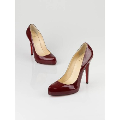 Christian Louboutin Dark Red Patent Leather Rolando 120 Pumps Size 8.5/39