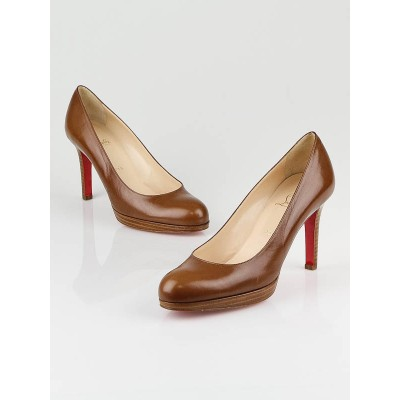 Christian Louboutin Brown Leather New Simple Pumps Size 8.5/39