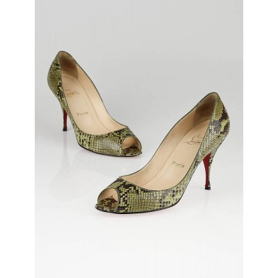 Christian Louboutin Green Python Yoyo 85mm Peep-Toe Pumps Size 10/40.5