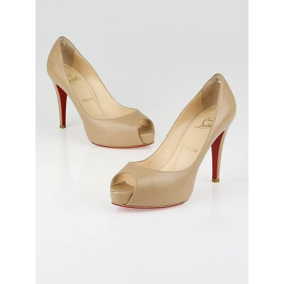 Christian Louboutin Beige Leather Very Prive 100 Size 7/37.5