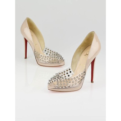 Christian Louboutin Nude Patent Leather Engine Spike 120 Pumps Size 10/40.5
