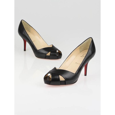 Christian Louboutin Black Leather Shelley Open Toe Pumps Size 7/37.5