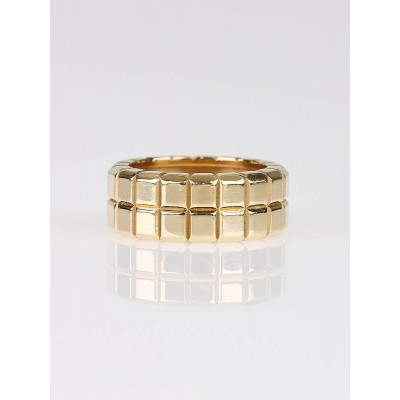 Chopard 18k Gold Ice Cube Double Row Ring Size 5.5