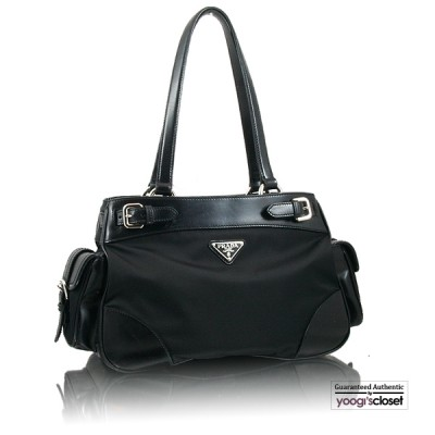 Prada Black Daino Nylon Tote Bag