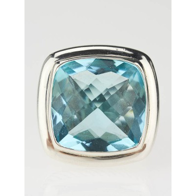 David Yurman 20mm Blue Topaz Albion Ring Size 7.5