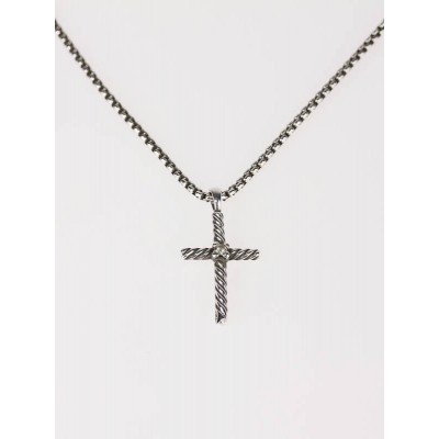 David Yurman Sterling Silver and Diamond Cable Classics Cross Necklace