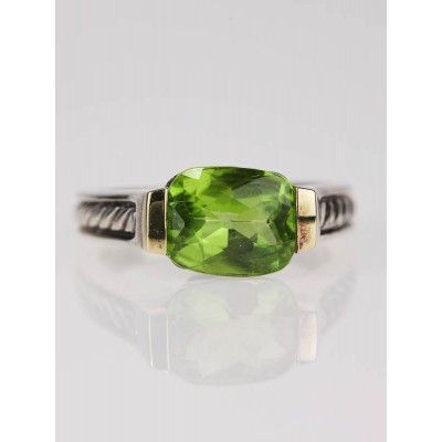 David Yurman Peridot Classics Deco Ring Size 7.25