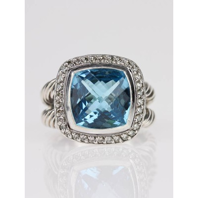 David Yurman 11mm Blue Topaz and Diamond Albion Ring Size 7