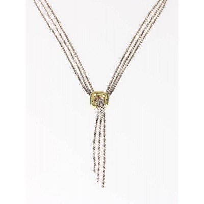 David Yurman Sterling Silver and 18k Gold Lariat Necklace