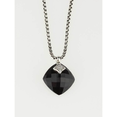 David Yurman Sterling Silver and Black Onyx Pendant Necklace