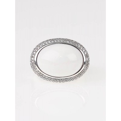 David Yurman White Agate and Pave Diamond Cocktail Ring Size 6