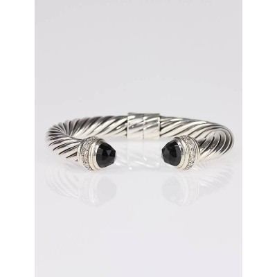 David Yurman 10mm Black Onyx Thoroughbred Hinged Cable Bracelet