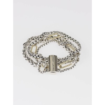 David Yurman Sterling Silver and 18k Gold Mix Chain Bracelet