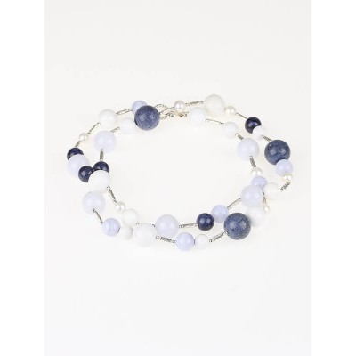 David Yurman Blue/White Beaded Popcorn Long Necklace